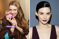 Light eyes are complimented by darker hair as shown here with Rooney Mara's Ashy Black Hair Color