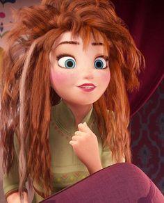 Ana de la película frozen con el pelo enmarañado