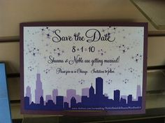 Purple Chicago Skyline Save the Dates from DBY Events & Invitations in Schaumburg.