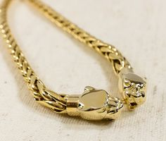 """Stunning Italian 14K Yellow Gold 3.6mm Wide Panther Head Accent Wheat Link 17"""" Necklace – 11.9 grams FREE SHIPPING! $539.00"""