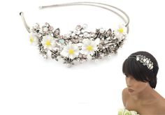 Vintage Silver Look Tiara Headband Daisy Flowers Crystals Pearls & Diamante
