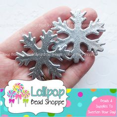 SILVER Glitter SNOWFLAKE Beads 45mm Frozen JUMBO Snowflakes 2-ct Gray Chunky Beads Acrylic Beads Bubble Gum Beads Bubblegum Bead Necklace by LollipopBeadShoppe, $1.95