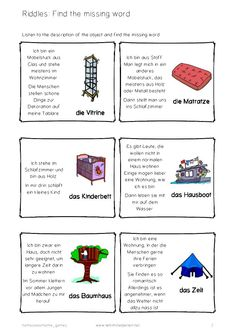 Riddles in German: Houses, rooms and furniture