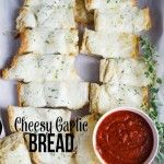 Cheesy Garlic Bread Recipe | landeelu.com  Super quick and easy and is hearty enough to be your meal or as a delicious side to your favorite pasta dish!