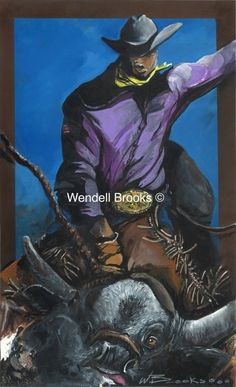 This pictures depicts the concentration of a bull rider during his competition. Wendell Brooks amazing talents captures the action up close and personal. American Bull, Black Cowboys, Bull Riders, Cowboy And Cowgirl, Black Art, Batman, African, Culture, Superhero
