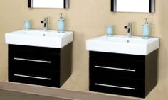 "Modern Double Wall Mount Style Sink Vanity (Black) (20""H x 48.5""W x 18.9""D) by Bellaterra Home. $935.00. Full extension ball bearing glides.. Solid wood construction.. Color: Black. This item ships common carrier.. Size: 20""H x 48.5""W x 18.9""D. The Modern Double Wall Mount Style Sink Vanity brings a modern look to any bathroom with a sleek design and contemporary fixtures. The clean lines of the drawer pulls give this sink vanity cabinet a unique look that makes this a gr..."