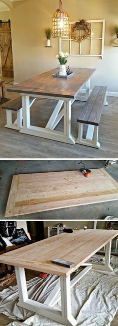 Rustic wood Table Farmhouse Style 40 diy farmhouse table plans the best dining room tables youll love The post Rustic wood Table Farmhouse Style appeared first on Woodworking Diy. Farmhouse Table With Bench, Farmhouse Kitchen Tables, Diy Dining Table, Farmhouse Furniture, Table Furniture, Dining Rooms, Farmhouse Decor, Rustic Decor, Furniture Plans