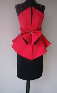 Vintage Red Avante Garde Red and Black Peplum by hipandvintage, $23.00