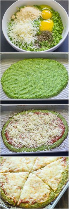 Low Carb Recipes You've seen cauliflower crusted pizza, but have you tried broccoli? - Healthy homemade broccoli crust pizza is gluten-free and low-carb and Broccoli Crust Pizza, Cauliflower Crust Pizza, Vegan Cauliflower, Zuchinni Pizza Crust, Califlower Crust, Fat Head Pizza Crust, Broccoli Quiche, Low Carb Recipes, Vegetarian Recipes