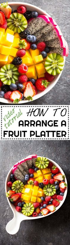 Ever wondered how to arrange a fruit platter as pretty as the ones in restaurants & hotels? Here is a video tutorial and full instructions! via /greenhealthycoo/ (fruit recipes videos) Healthy Cooking, Cooking Tips, Healthy Snacks, Healthy Eating, Cooking Recipes, Cooking Food, Food Prep, Cooking Bacon, Cooking Classes