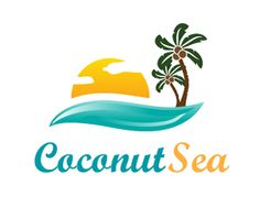 Coconut Sea Logo design - This illustrative logo depicting the sea, sunshine and tiki hut can be used by realtors, luxurious properties, seafood restaurants, beach resorts. <br />Customization upon request. Price $320.00