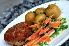 Karbonader og grønærter med gulerødder (3)