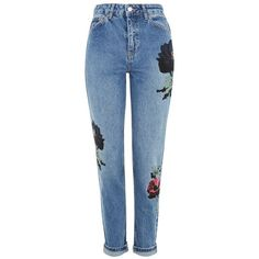Women's Topshop Floral Embroidered Mom Jeans (1,180 MXN) ❤ liked on Polyvore featuring jeans, pants, bottoms, patch jeans, medium wash jeans, flower embroidered jeans, topshop jeans and patching blue jeans