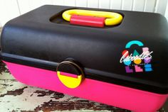 Caboodle Case Hot Pink and Black Makeup Craft Supply Case Mint Condition