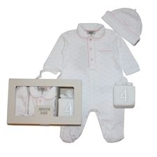 Armani Junior Pink Romper Hat And Toy Set