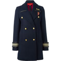 Hilfiger Collection double breasted coat (775 AUD) ❤ liked on Polyvore featuring outerwear, coats, blue, blue coat, blue double breasted coat and double breasted coat