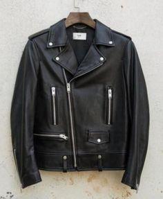 Mens Wash Leather Jacket Black Slim fit Biker Motorcycle jackets  coat outwear
