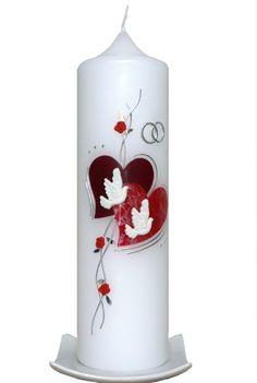 Hochzeitskerze Herzen(Weinrot) mit Karton