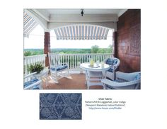 Outdoor Chair Fabric: Pindler Pattern #1878-Coggeshall, color Indigo (Newport Mansions Indoor/Outdoor Fabric)  (photo via houzz.com)