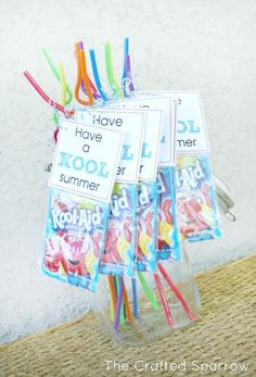 Very cute idea for things to give to my students this end of year!  have-a-kool-summer- printable-tags