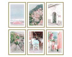 Italy Pastel Prints Set of 6 // Travel Wall Art Decor // Italy Gallery Wall Set // Positano Photography Prints Set Pink Wall Art, Wall Art Decor, Modern Art Prints, Wall Art Prints, Pastel Home Decor, Travel Wall Art, Thing 1, Unique Wall Art, Photo Wall Collage