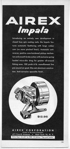 1959 Vintage Ad Airex Impala Spin Casting Fishing Reels Division of Lionel