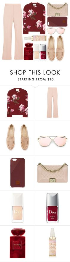 """""""red and blush"""" by juliehalloran ❤ liked on Polyvore featuring Gucci, STELLA McCARTNEY, Palomitas by Paloma Barceló, Native Union, Chanel, Christian Dior and Giorgio Armani"""