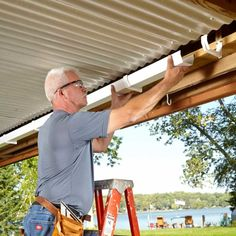 under deck roof install gutters and downspouts - Modern