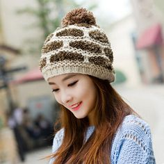 Leisure knit stocking cap for women with hairball. Knit StockingsWinter Hats  ... 8b21ae160b79