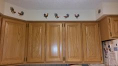 West side of kitchen cabinets (to right of window/sink area and side of refrig