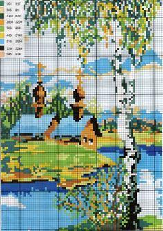 Схемы вышивки пейзажей с храмом крестиком