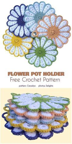 Flower Pot Holder – Crochet pot holder – DIY instructions for beginners – Talu. Crochet Potholder Patterns, Crochet Coaster Pattern, Crochet Dishcloths, Crochet Flower Patterns, Crochet Flowers, Knitting Patterns, Fabric Flowers, Crochet Kitchen, Crochet Home
