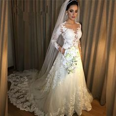 Vestidos de Noiva A Line Lace Wedding Dress 2018 See Through Back Sexy Long Sleeves Wedding Dresses Robe De Mariage Bridal Gowns Beaded Wedding Gowns, Lace Beach Wedding Dress, Wedding Dresses 2018, Wedding Dresses Plus Size, Wedding Dress Sleeves, Lace Weddings, Cheap Wedding Dress, Bridal Lace, Bridal Dresses