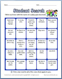 Classroom Freebies: Back to School Ice Breaker: Student Search