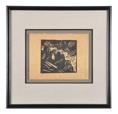Lyonel Charles Adrian Feininger (17.07.1871 New York - 13.01.156 New York); Holzschnitt auf Bütten (oatmeal-tan-carbon-copy), in Graphit signiert und bezeichnet sowie nummeriert, Stempel der (Julia?) Feininger Estate mit handschriftlichen Ziffern, hinter Glas in Passepartout gerahmt, Galerieleist...