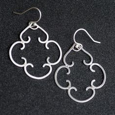 Curled Lattice earrings hand wrought with solid by CherishedBijou, $70.00