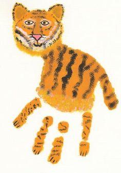 #Handprint art tiger