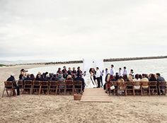 The perfect private beach ceremony in front of Sam's Chowder House in Half Moon Bay, CA