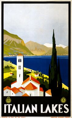 """Italian Lakes"" - Vintage Italy Retro Travel Poster for Sale – Such A Poster Wpa Posters, Art Deco Posters, Poster S, Poster Prints, Poster Wall, Art Prints, Retro Posters, Vintage Italian Posters, Vintage Travel Posters"