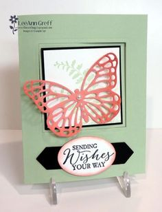 Here is one of the pretty cards we made at my February Card Clubs. I call it a Pop-Out Window card. I love these fun folds! Check out my how-to video below.  I used the beautiful Butterfly Basics bundle and two of our 'soon to retire' 2-13-15 In Colors...