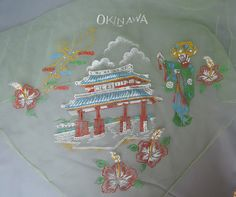 Sheer Green Okinawa Print Souvenier Scarf - Vintage 1950s - Asian Lady, Flowers, Building - $12.00  by dandelionvintage