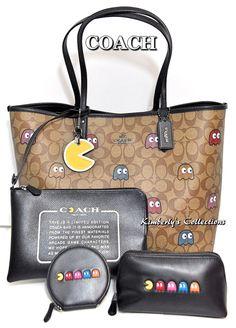 a091f8365cb1 COACH X PAC-MAN LTD Ghost Tote Bag Cosmetic Bag Coin Purse  amp  Key