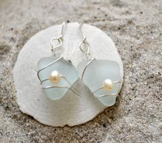 Aqua blue seaglass earrings with pearls.  I love seaglass jewelry!