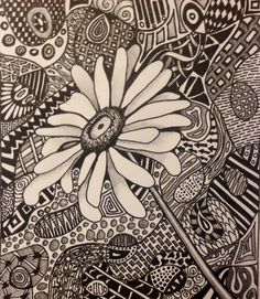 (*Zentangle by Sandy Blanc) ...Love the idea of the focal point without a pattern...