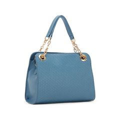 Embossed Chain Leather Satchel Blue