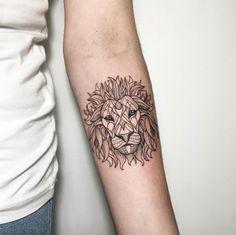 Decorative lion tattoo by Ira Shmarinova