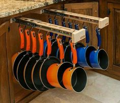 Would love to do this. Cooking Pots & Pans Rack installed inside your cabinets. Awesome space saver & a great way to keep your cabinets organized.