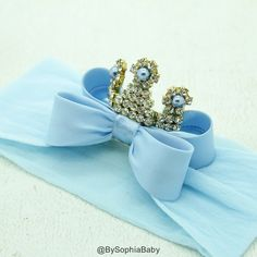 Baby Tiara Light Blue Bow Crown Headband Princess by BySophiaBaby