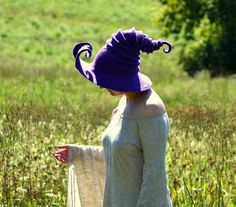 Curled Brim Witch Hat. Wizard Hat. Fantasy Hat. Cosplay Hat by HandiCraftKate