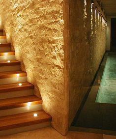 This Contemporary Stair With No Overhead Lighting Was Completely Illuminated  With In Tread Uplights Combined